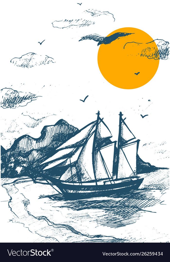 Sailing yacht silhouette sketch sea