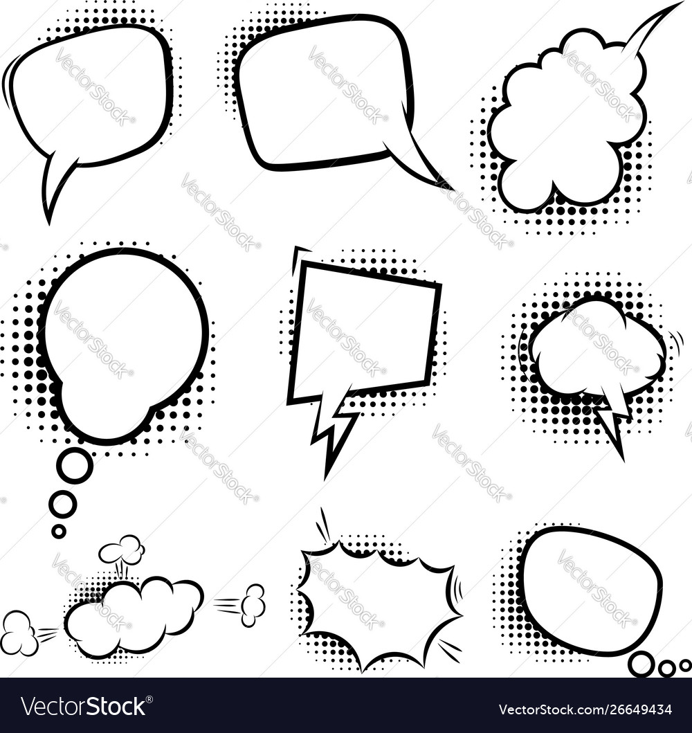 Set empty comic style speech bubbles