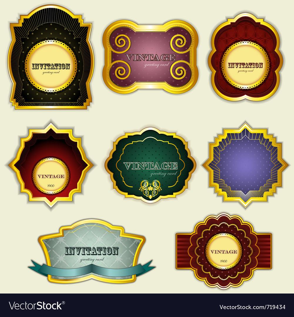 Vintage gold labels set