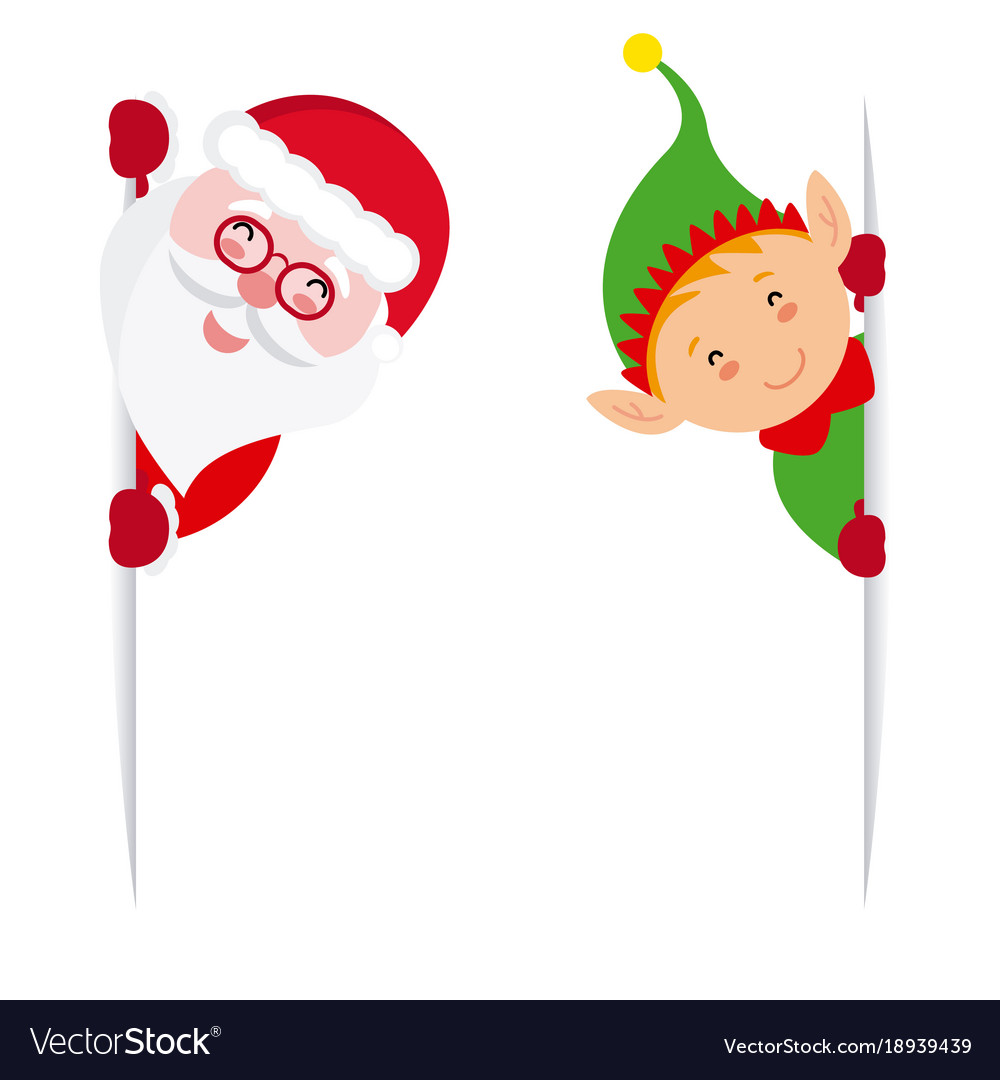 elf and santa claus holding a sign royalty free vector image