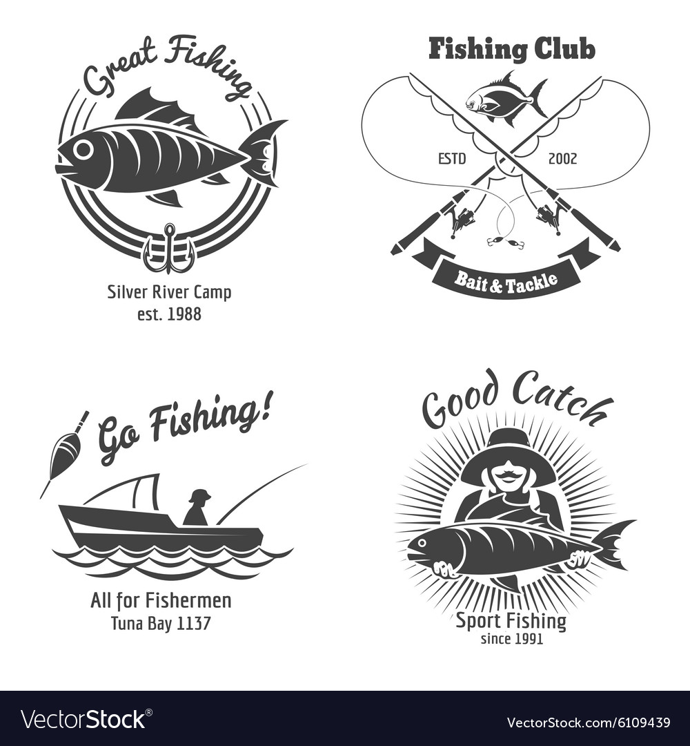 Fishing logo and emblems vintage set