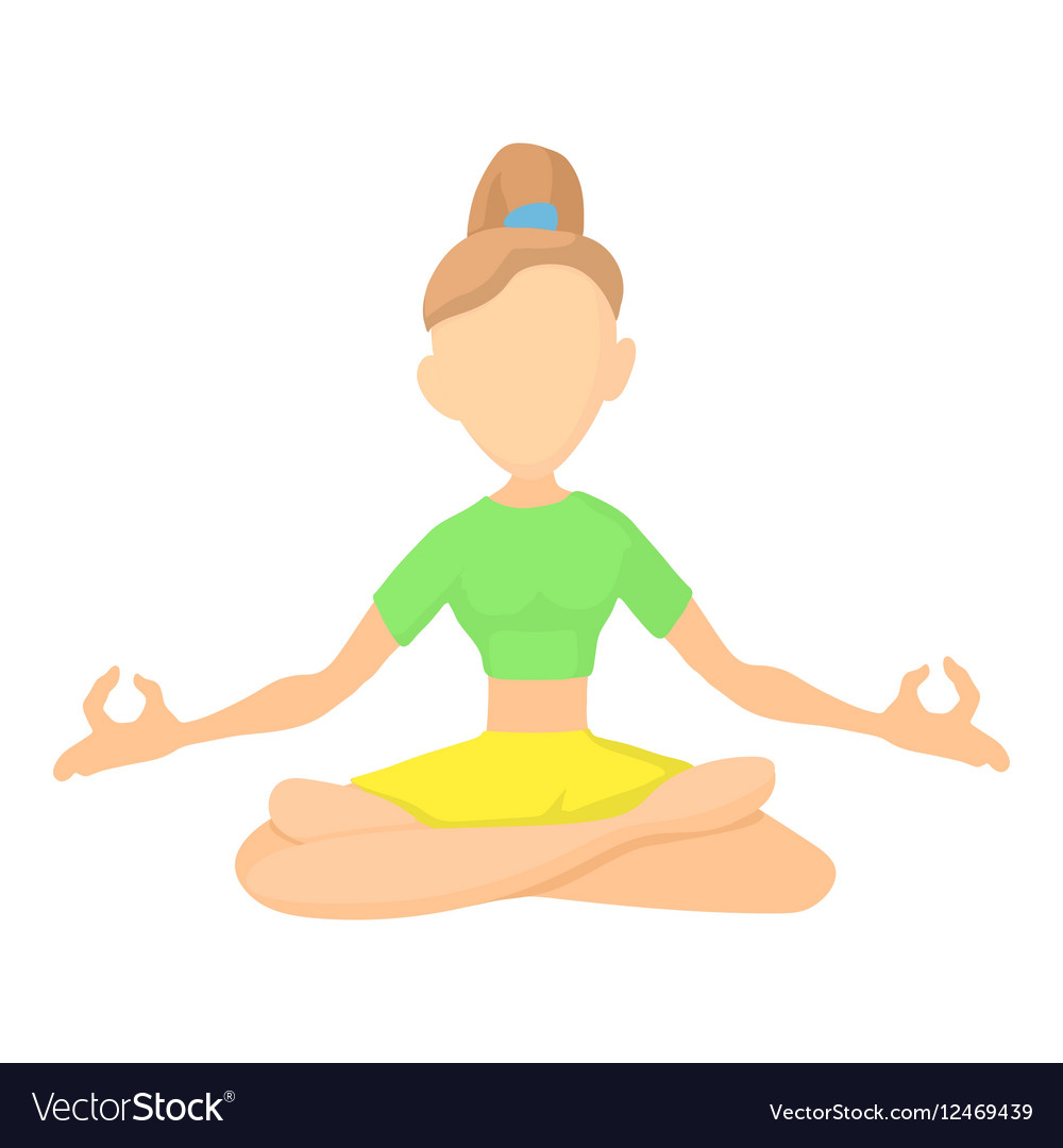 Girl In Yoga Pose Icon Cartoon Style Royalty Free Vector