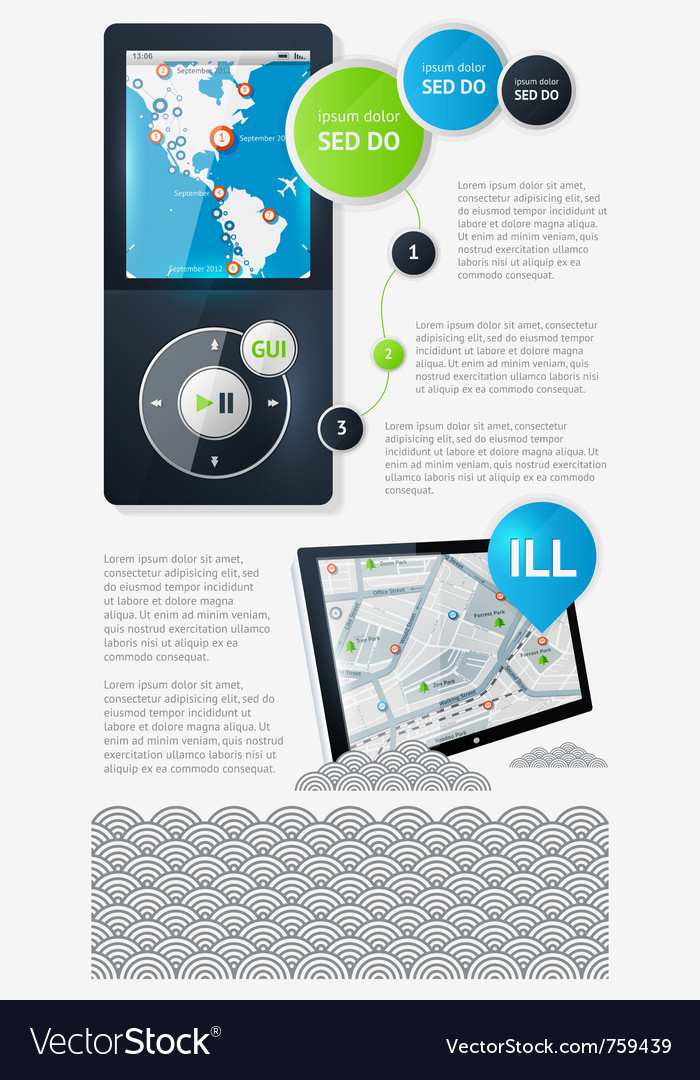 Infographics with buttons and menus