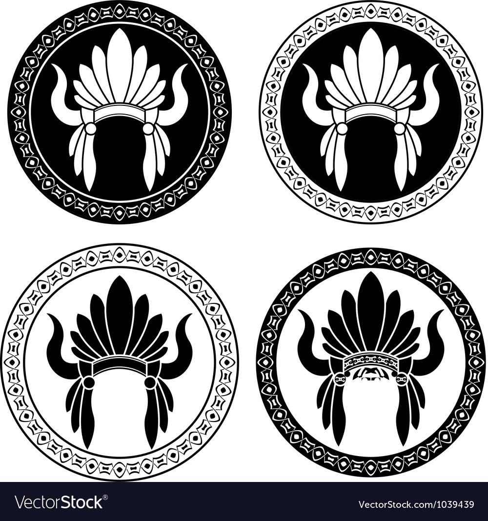 Native American Indian headdress stencils vector image