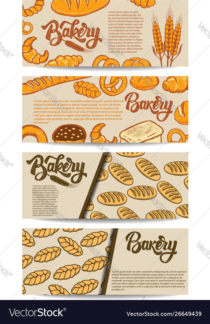 Set bakery flyers design element for poster