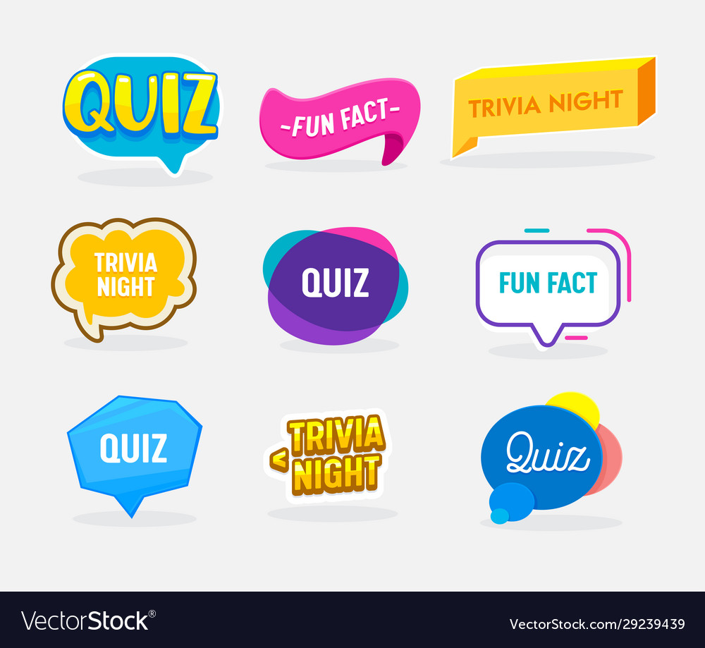 Set quiz fun fact and trivia night badges in