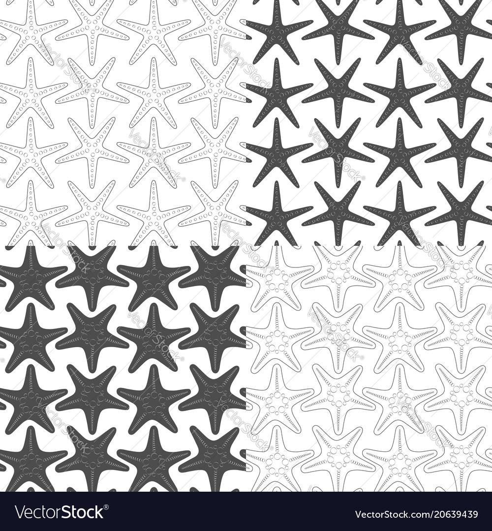 Set seamless patterns with starfish