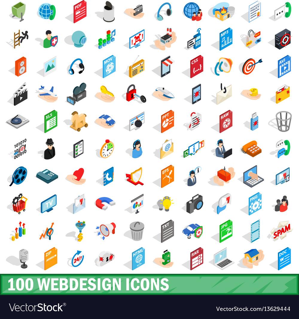 100 webdesign icons set isometric 3d style