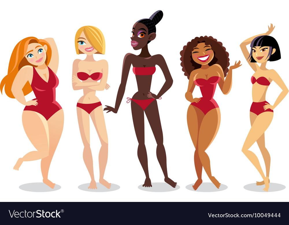 57185d5245 Beautiful young women in bikini Royalty Free Vector Image