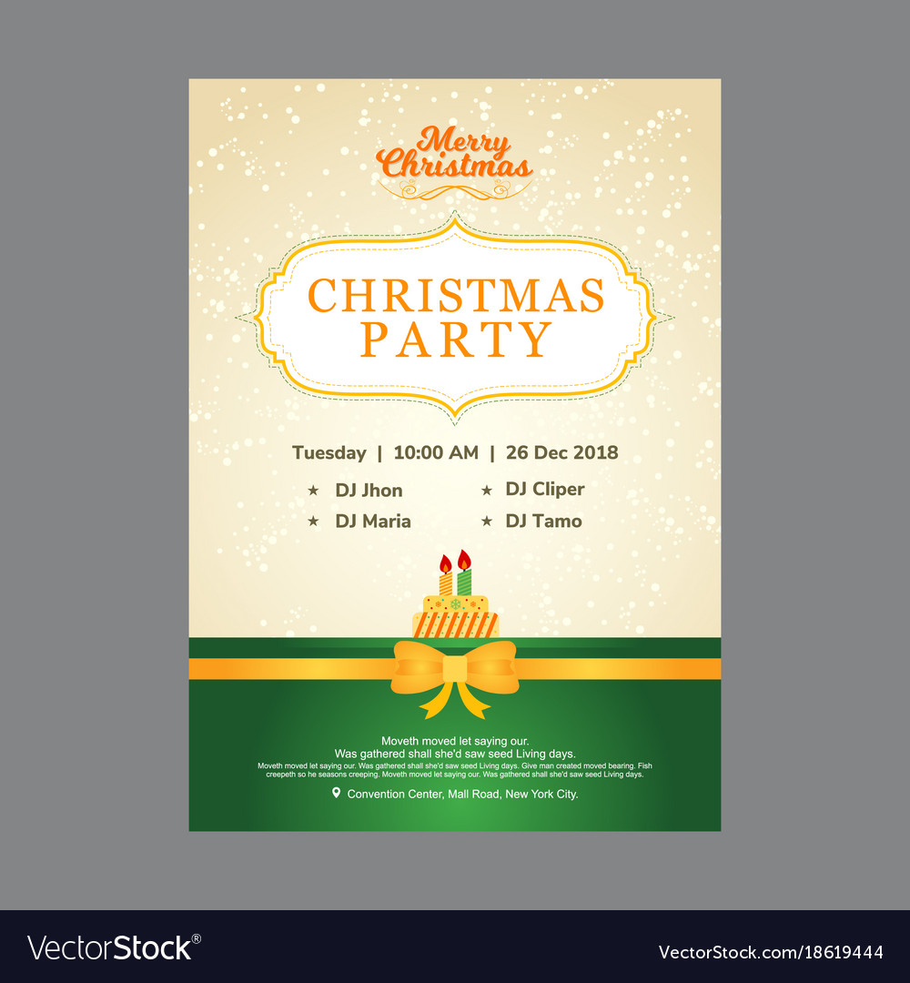 Beige and green christmas party invitation card vector image on VectorStock