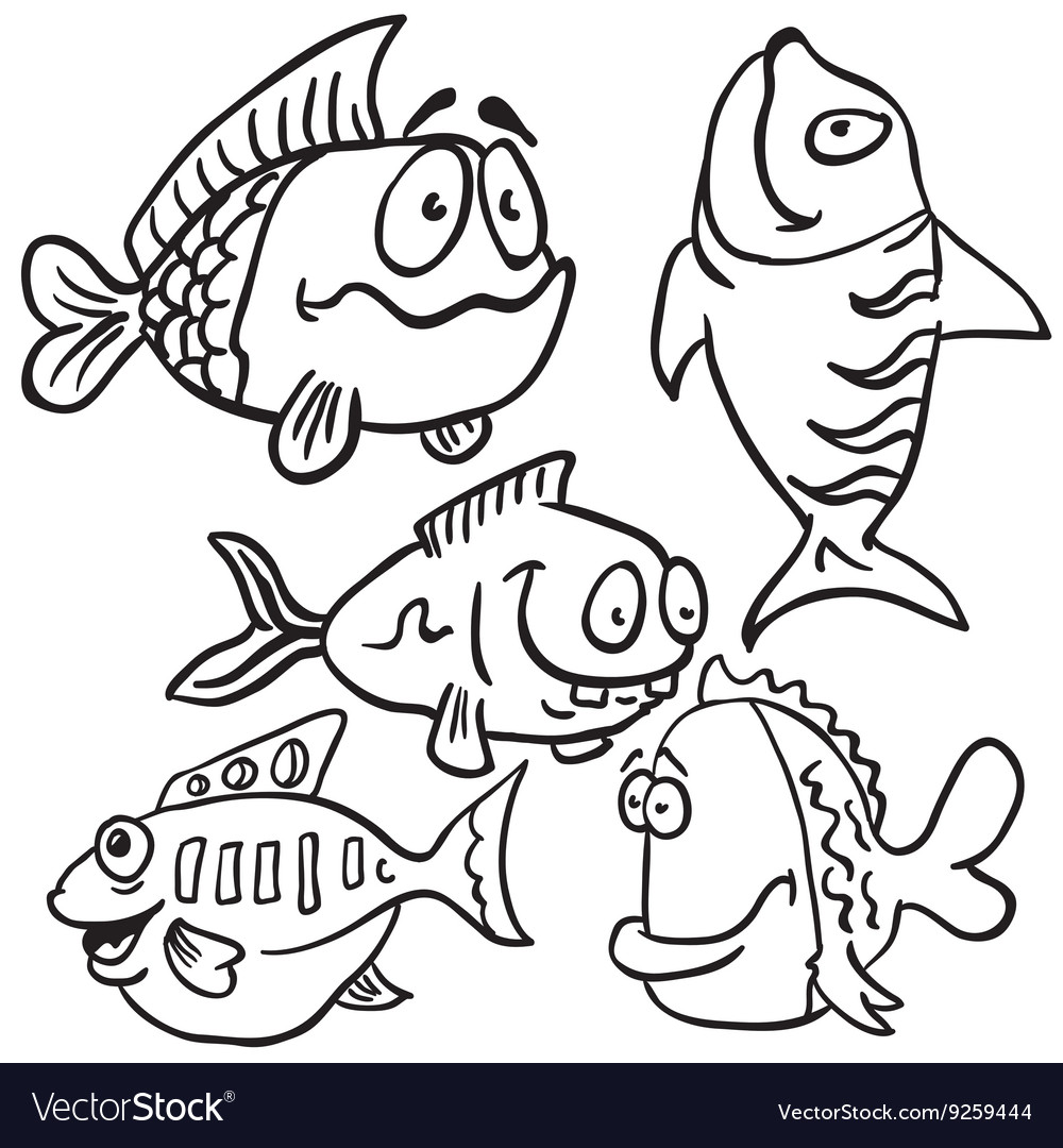 Black and white fish set vector image