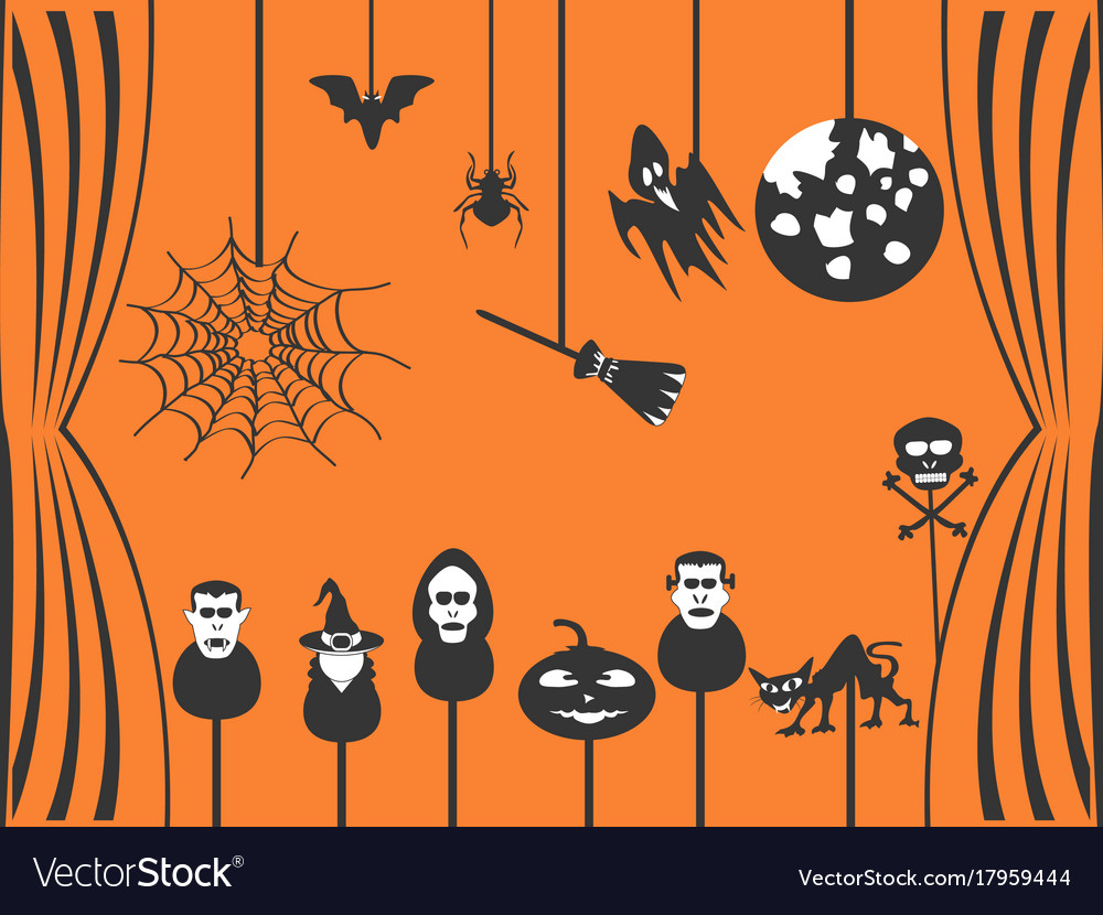 Black halloween puppets theater vector image
