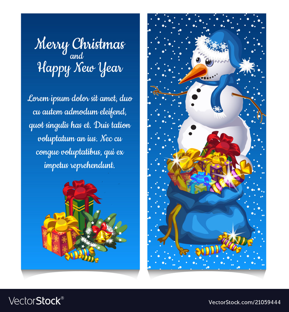Dual vertical card with snowman with bag of gifts