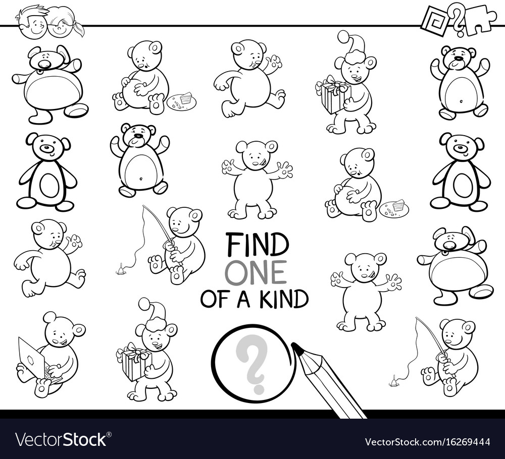 Find one of a kind coloring book with bears