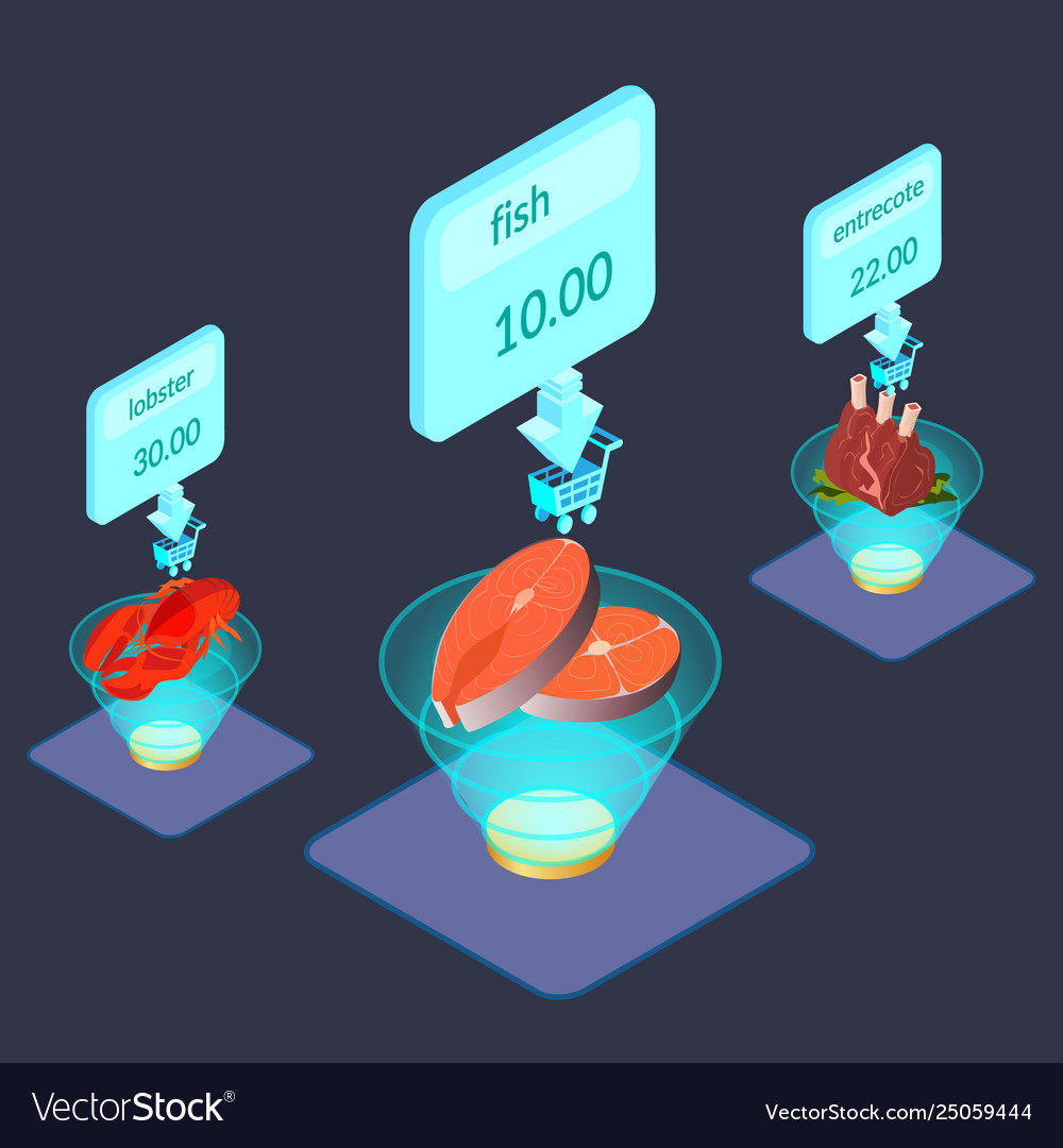 Food products on display isometric