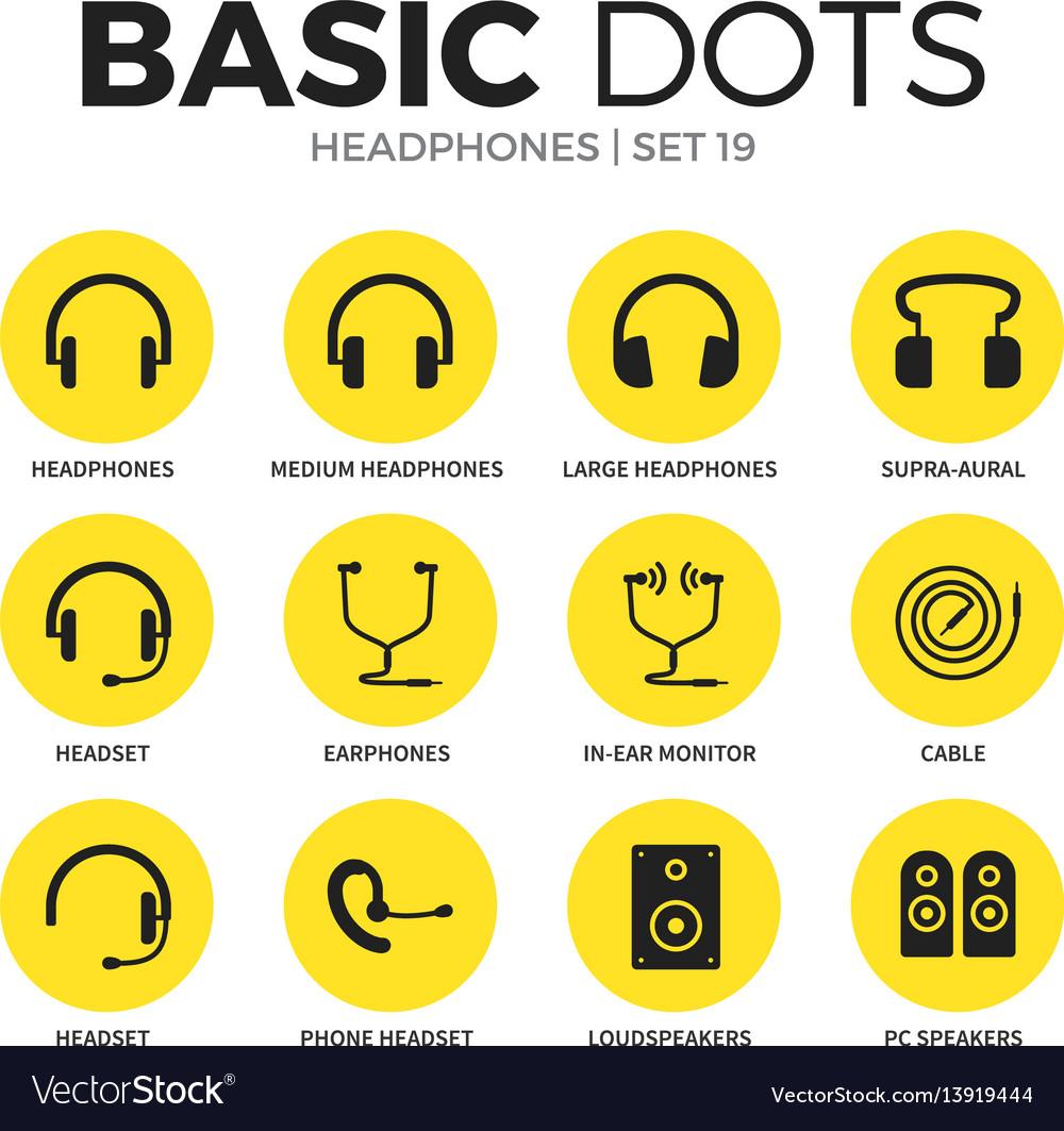 Headphones flat icons set