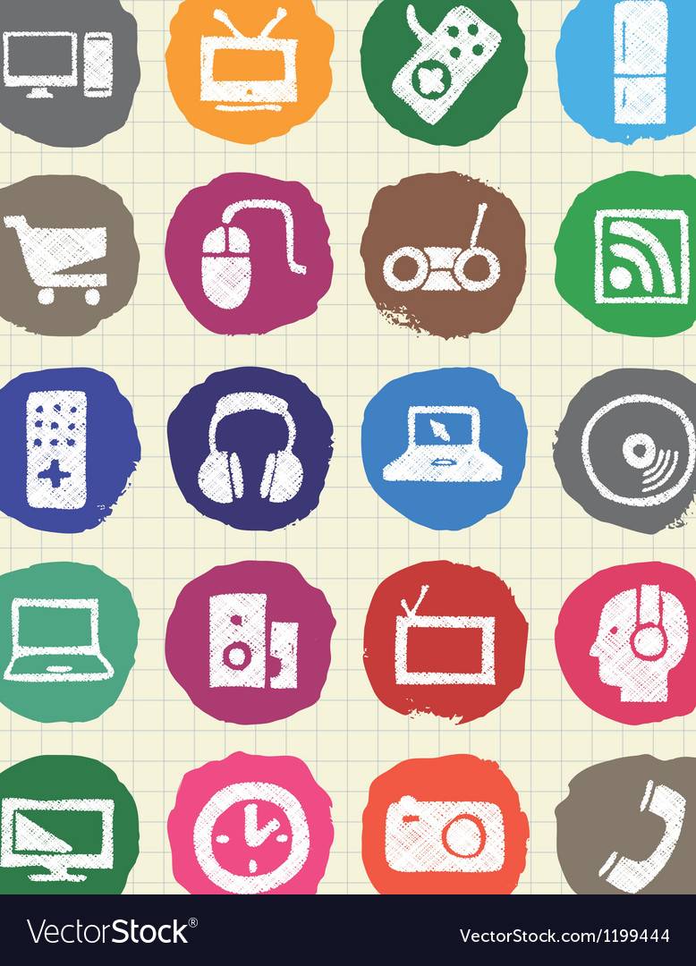 Household appliances and electronics web icons set