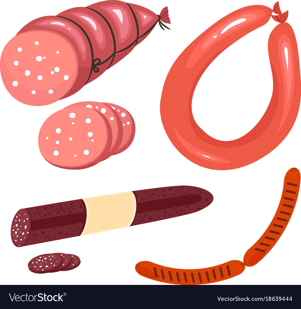 Set of fresh cartoon sausages