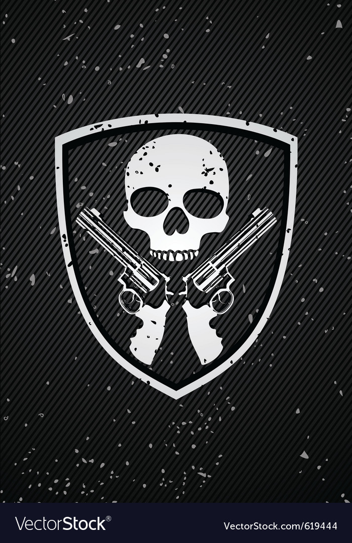 Skull badge vector image