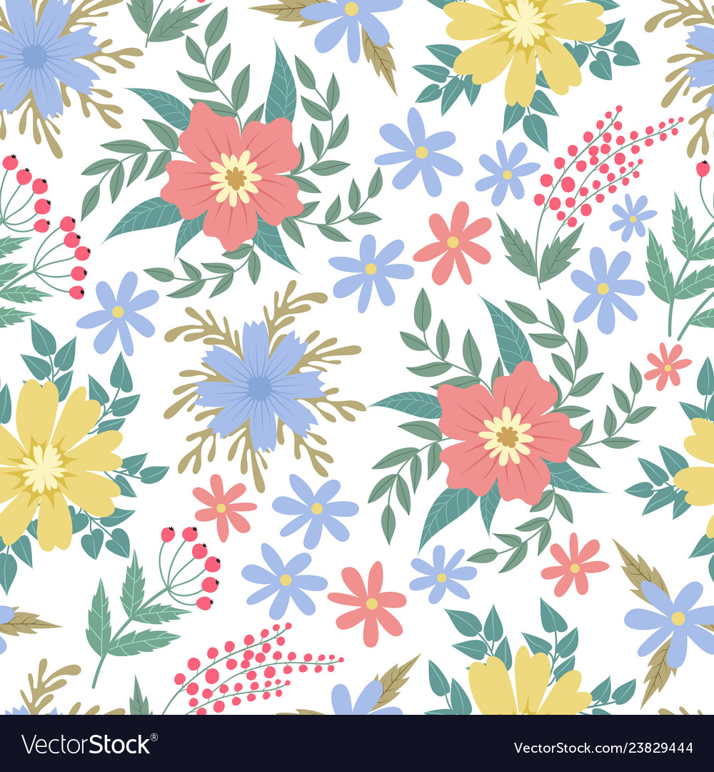 Spring flowers seamless patten garden summer vector