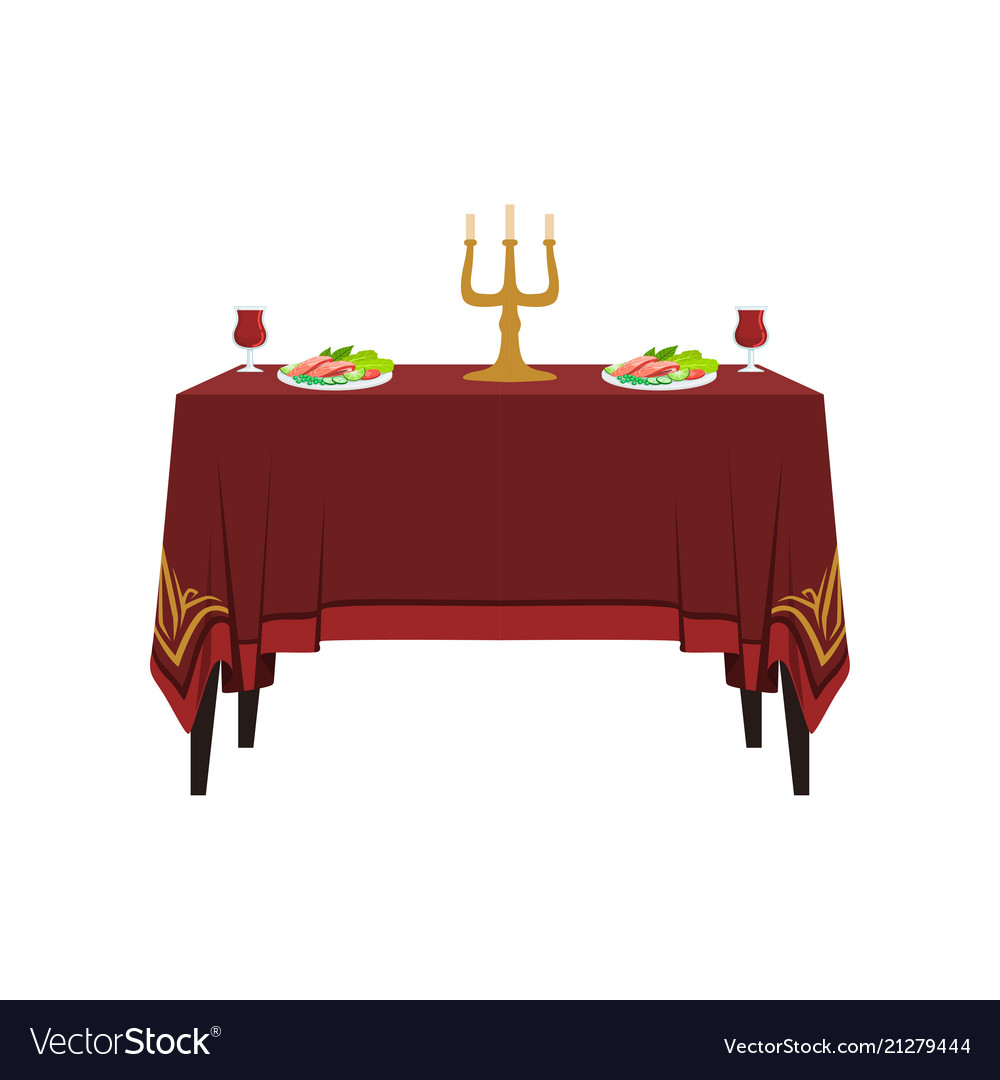 Table In Restaurant For Two People Banquet Table Vector Image - Table for two restaurant