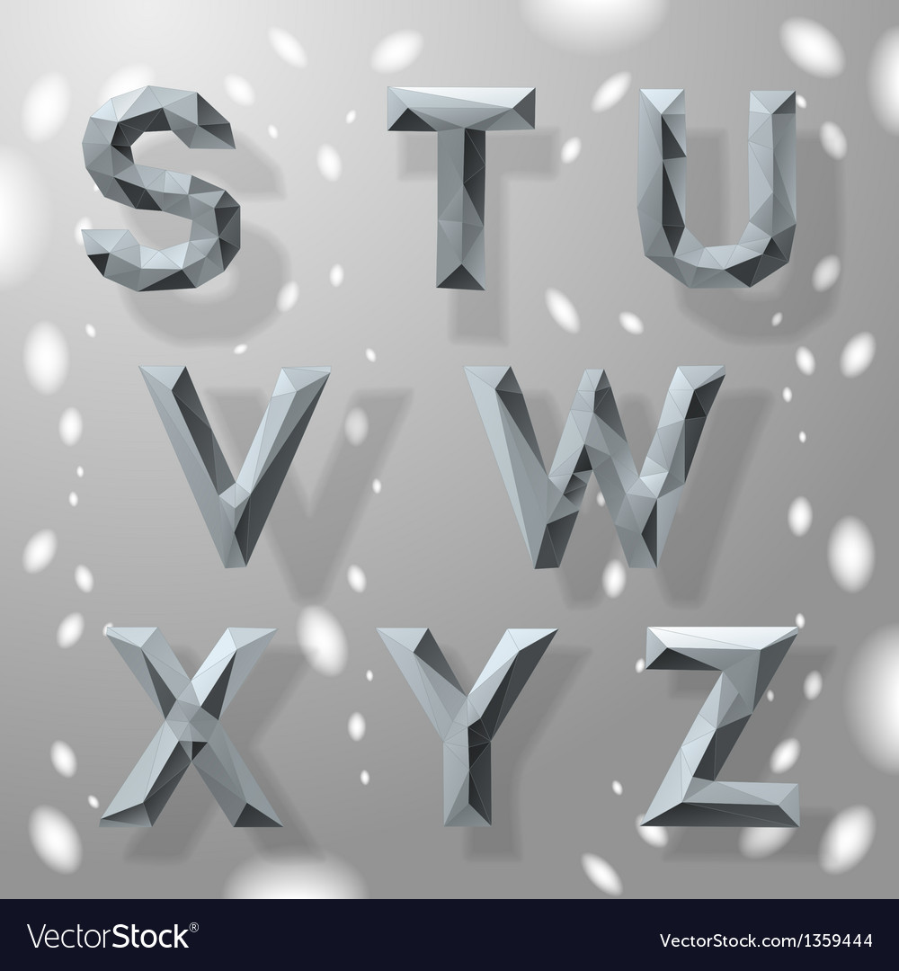 Trendy grey fractal geometric alphabet part 3 vector
