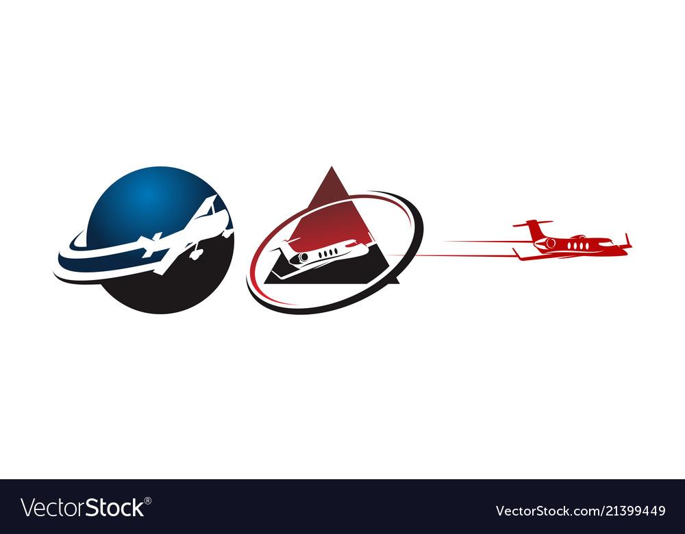 Airplane travel template set