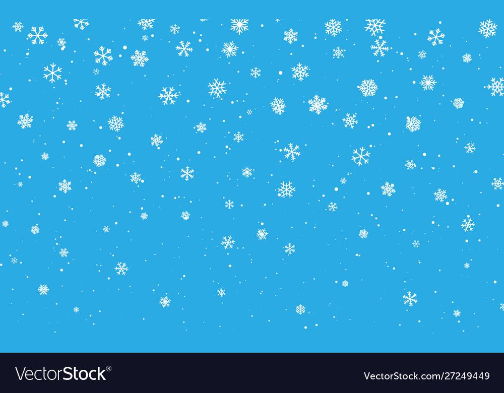 Christmas snow falling snowflakes on blue