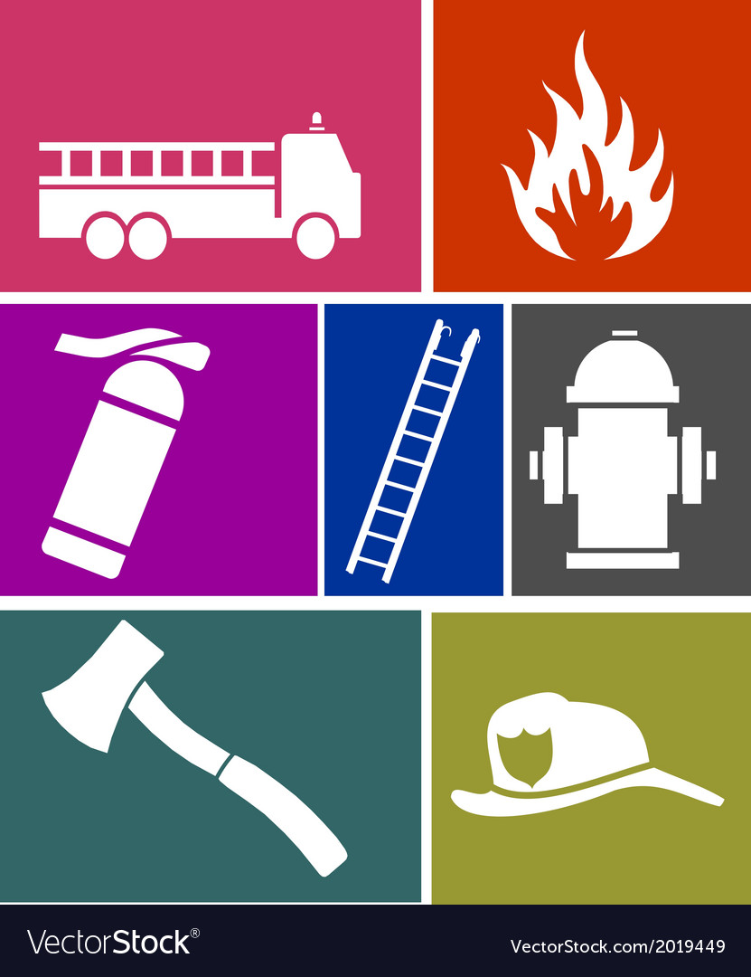 Firefighter flat icons set
