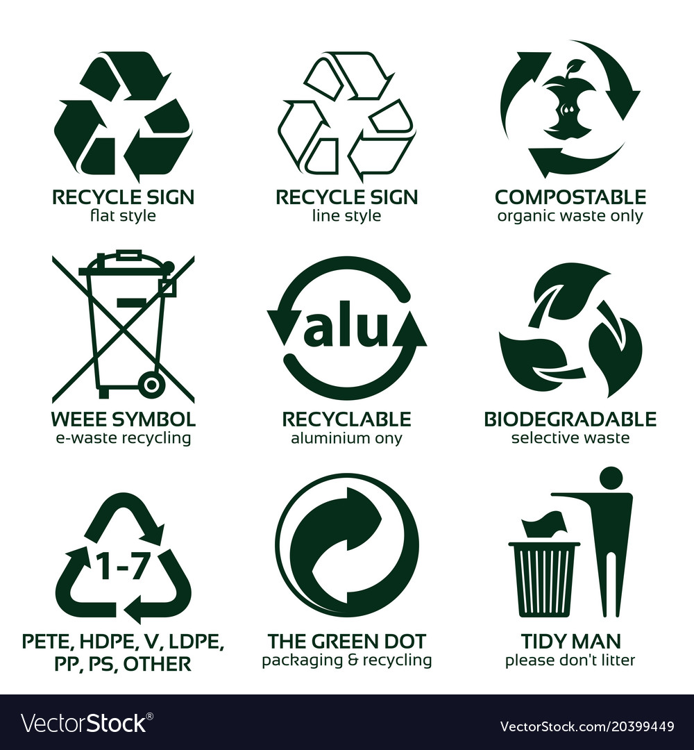 Flat Icon Set For Green Eco Packaging Royalty Free Vector