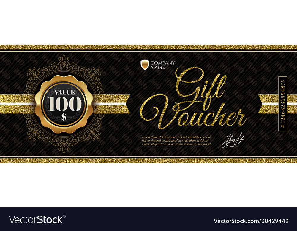 Gift voucher template with glitter gold elements