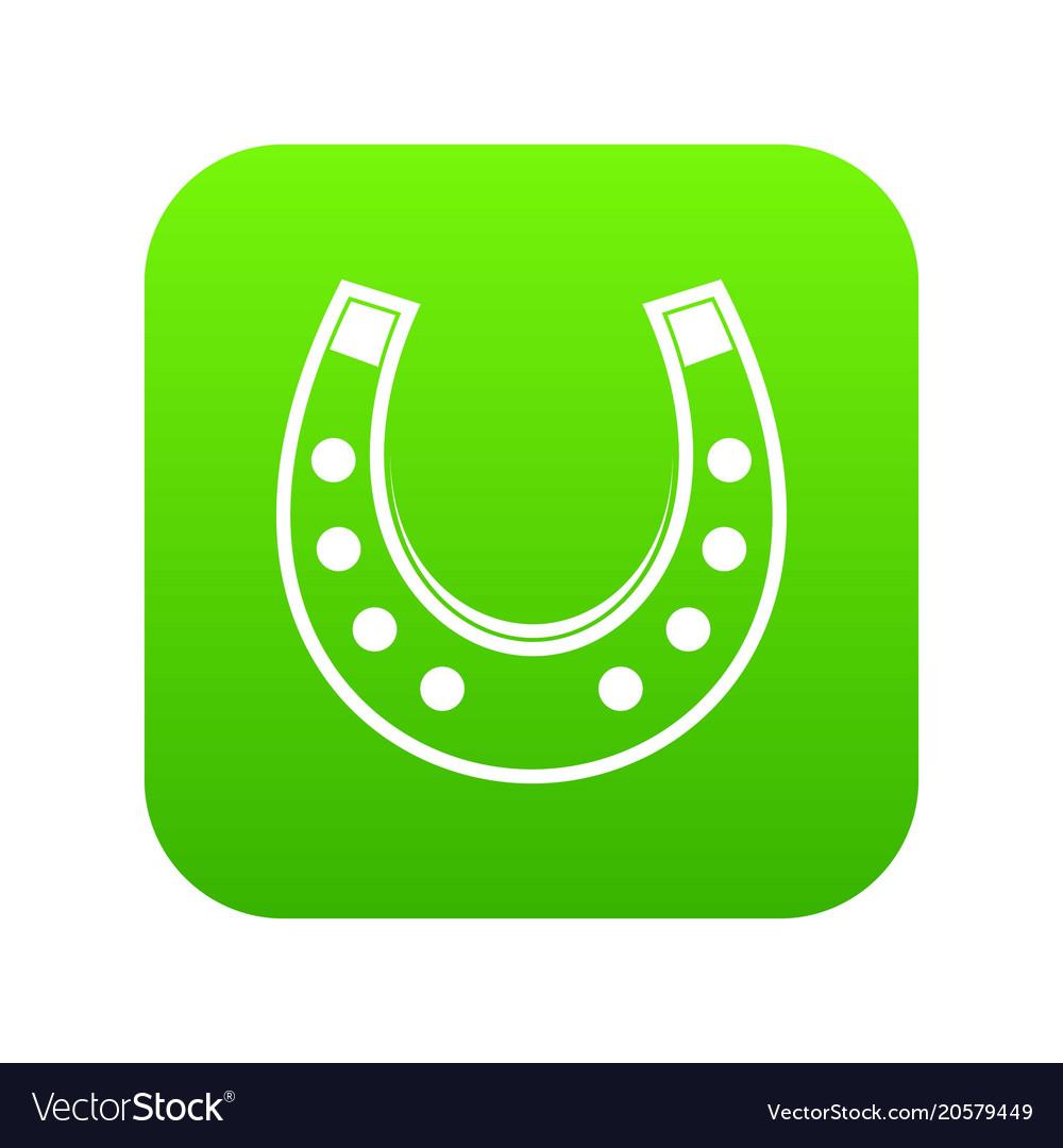 Horseshoe icon digital green vector image