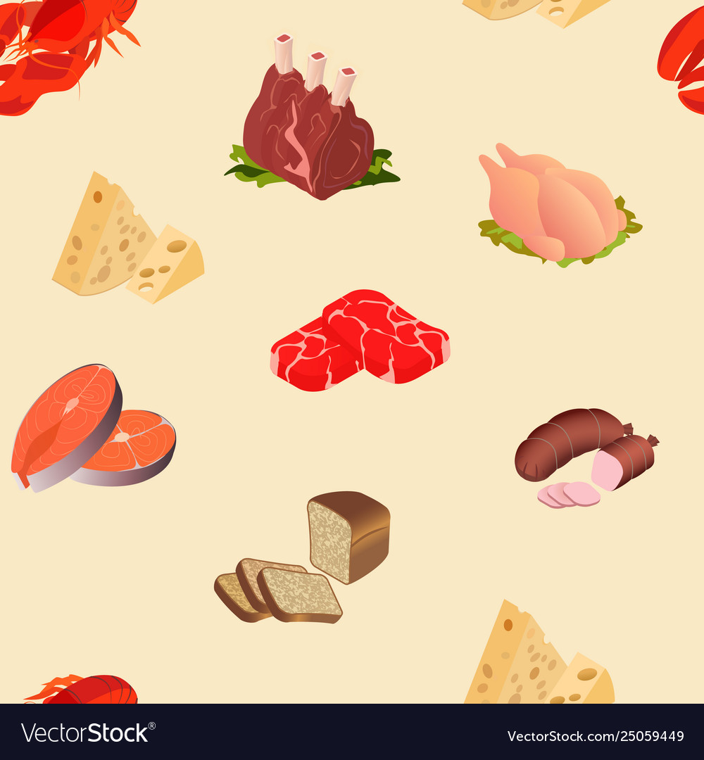 Meat cheese seafood products seamless pattern