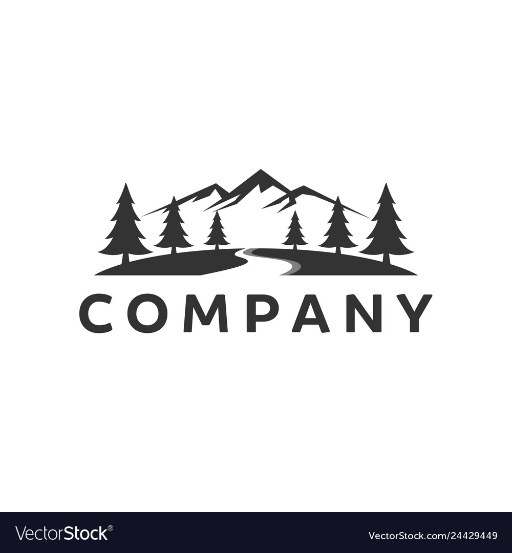 mountain logo inspiration with river royalty free vector vectorstock