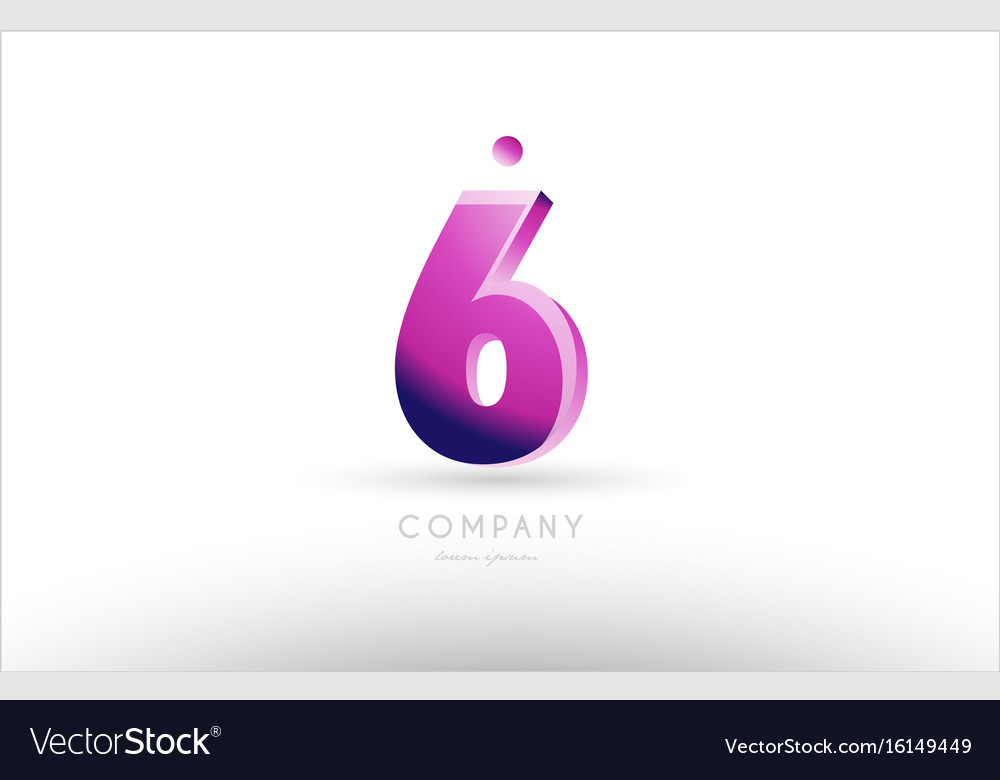 Number 6 six black white pink logo icon design vector image