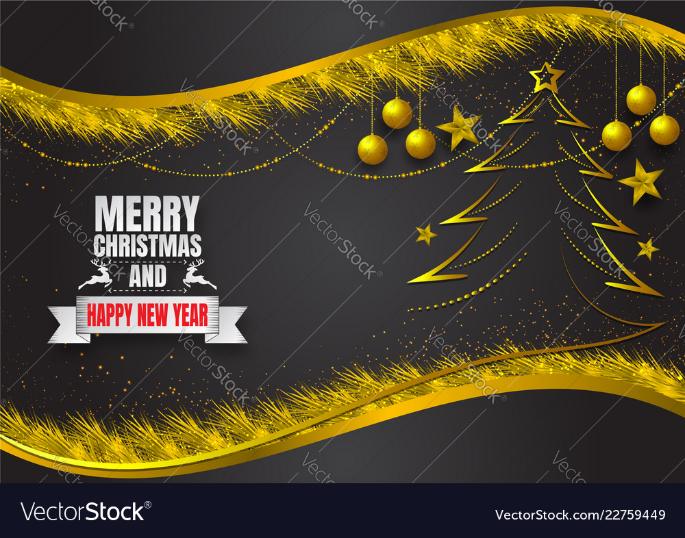 Snowflake and ball on dark and gold background