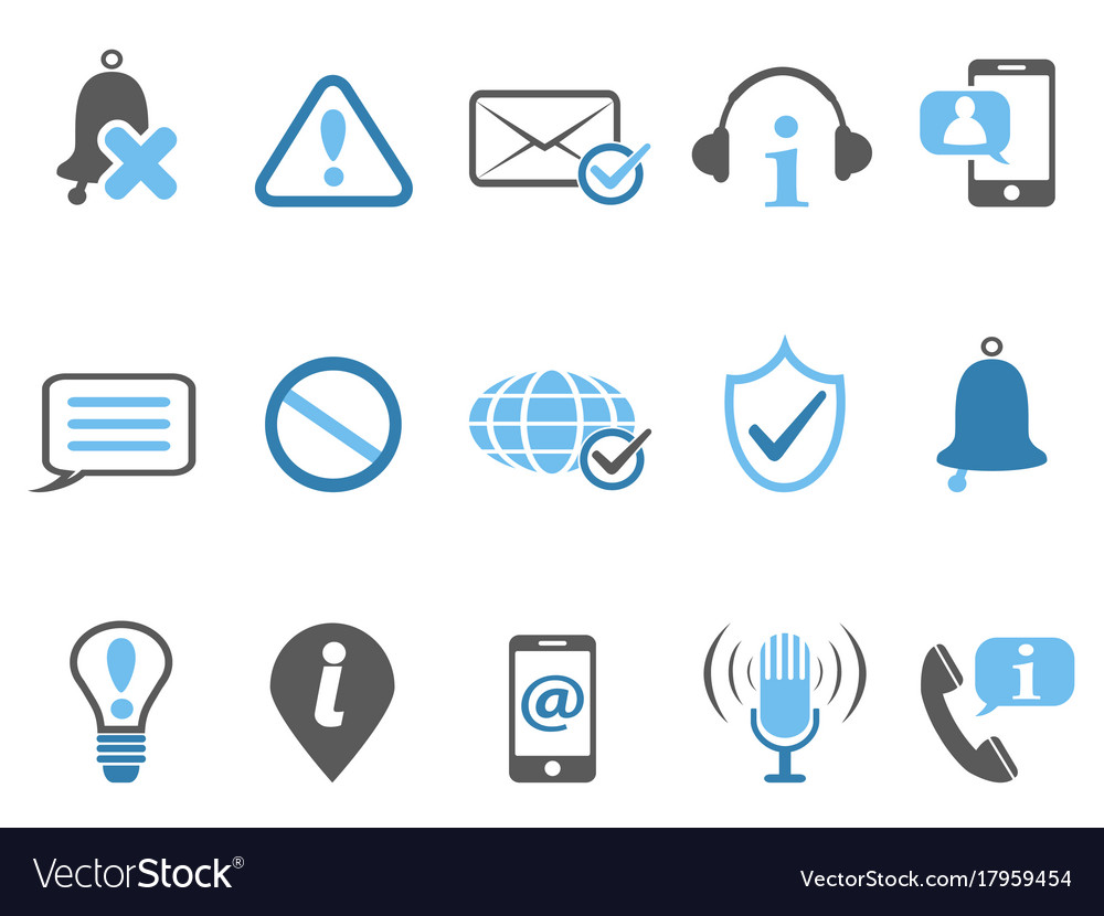 Blue notification and information icons set