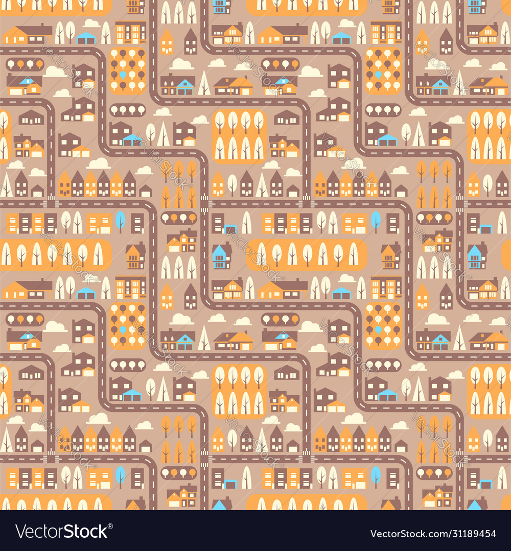 City seamless pattern top view flat design
