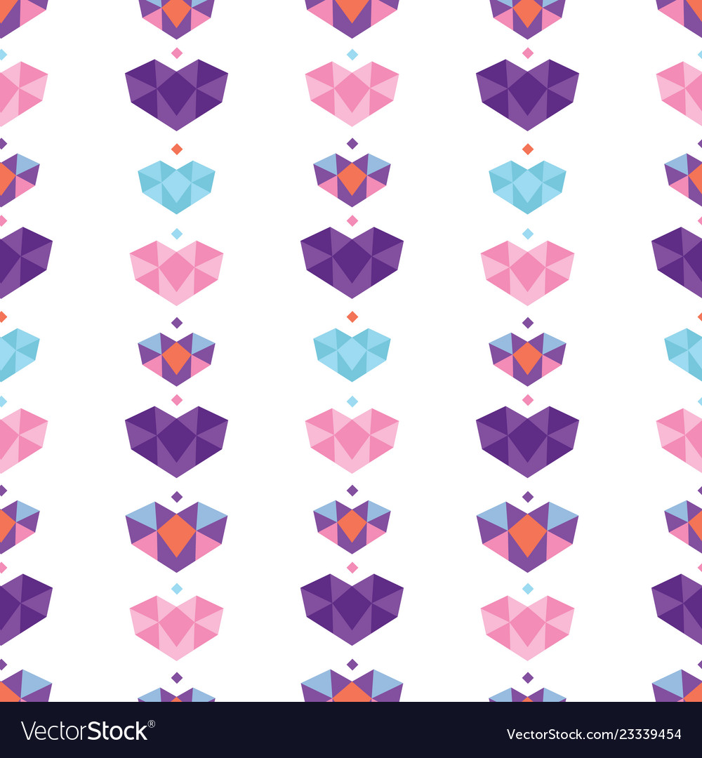 Colorful geometric hearts seamless pattern