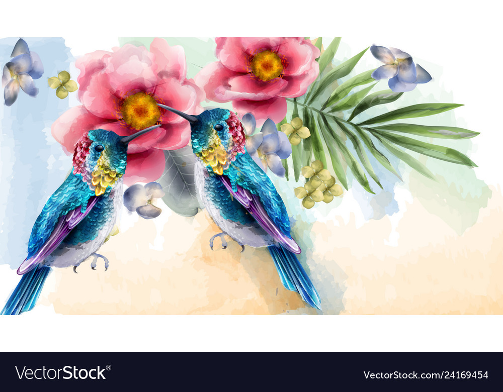 Colorful humming birds and flowers watercolor