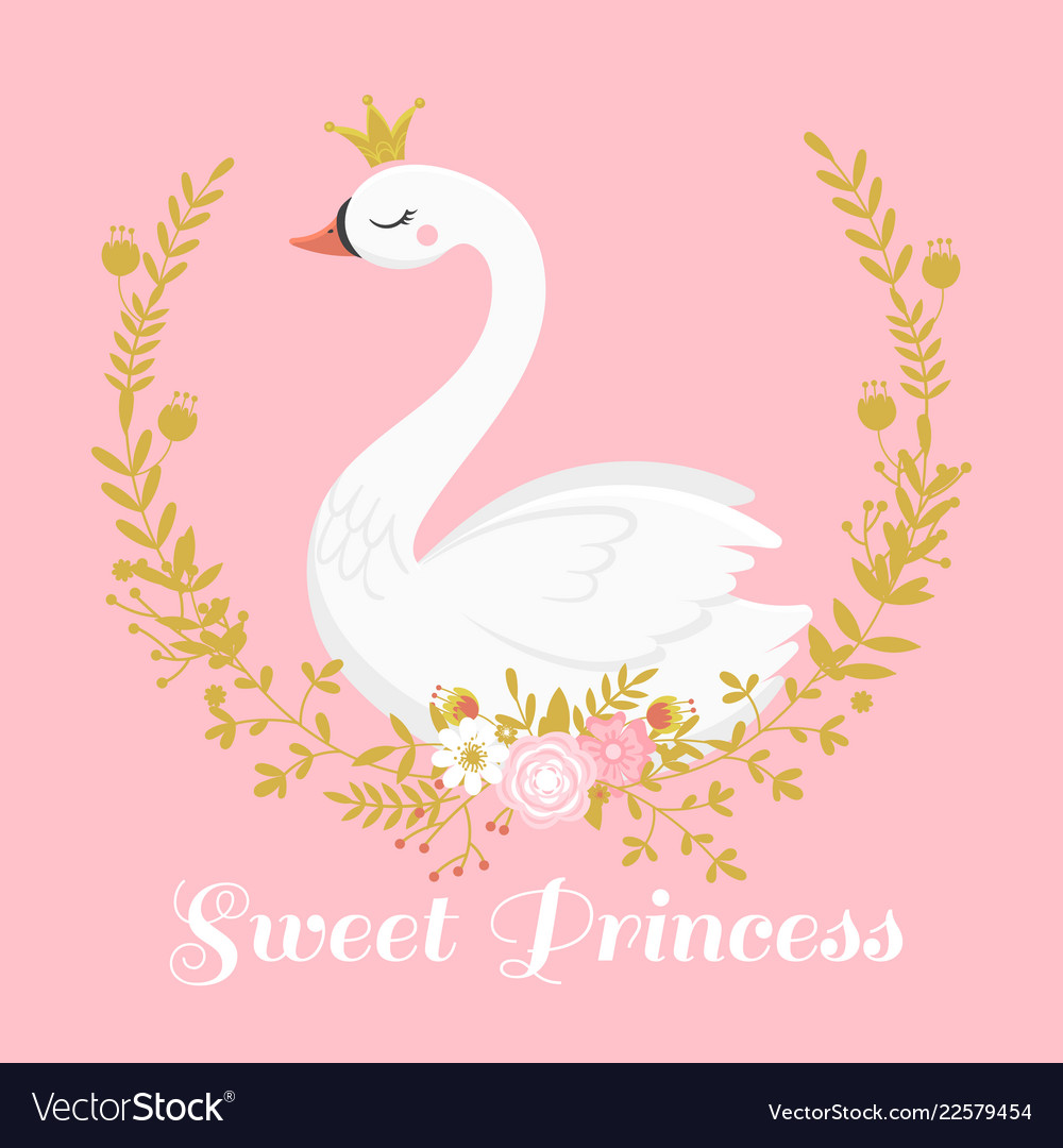 Cute swan princess beautiful lake swans bird in