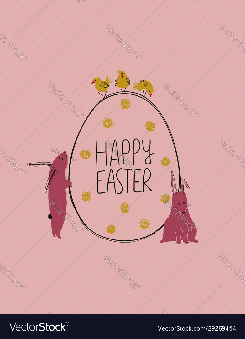 Easter greeting card with bunny chickens and an