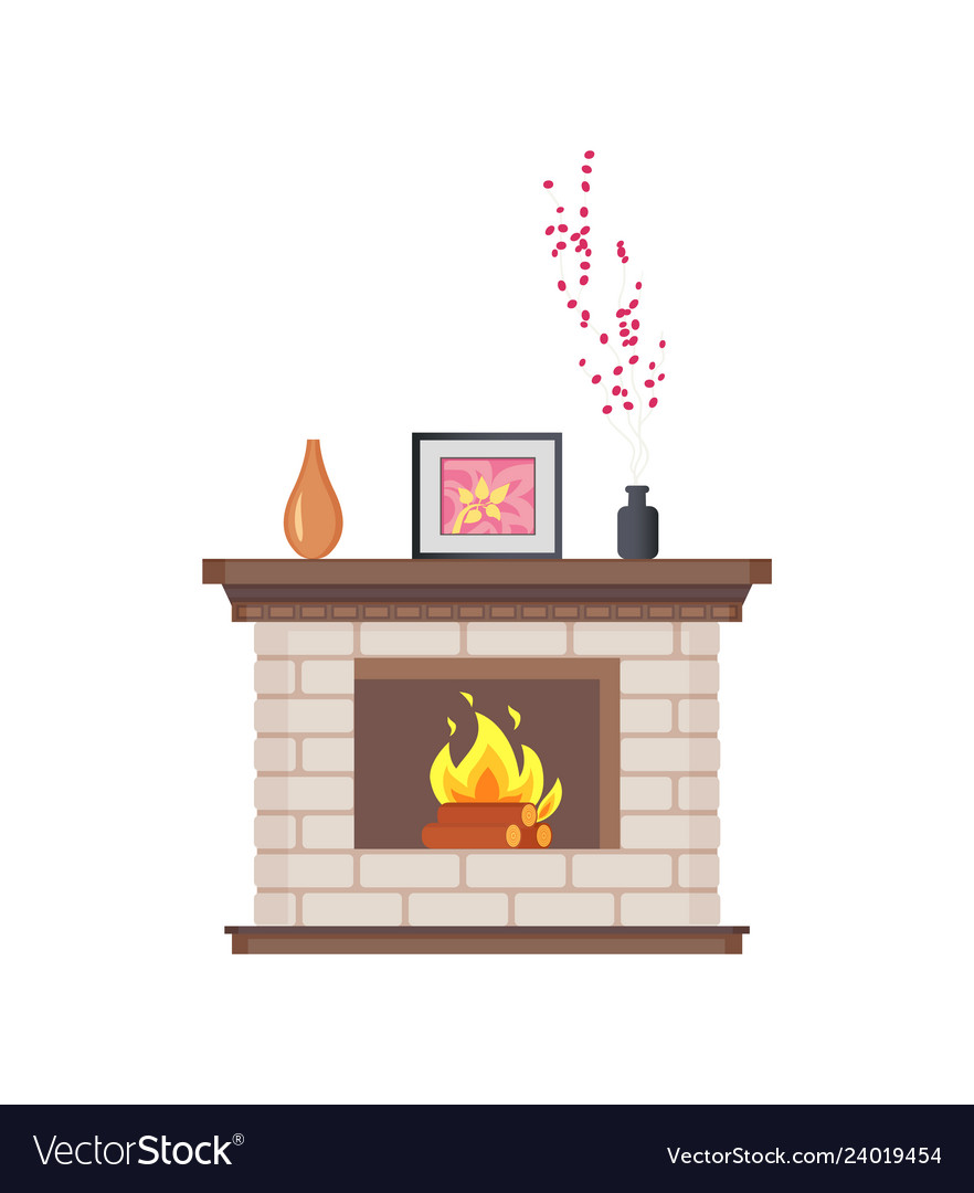 Fireplace with framed photo on wooden shelf icon