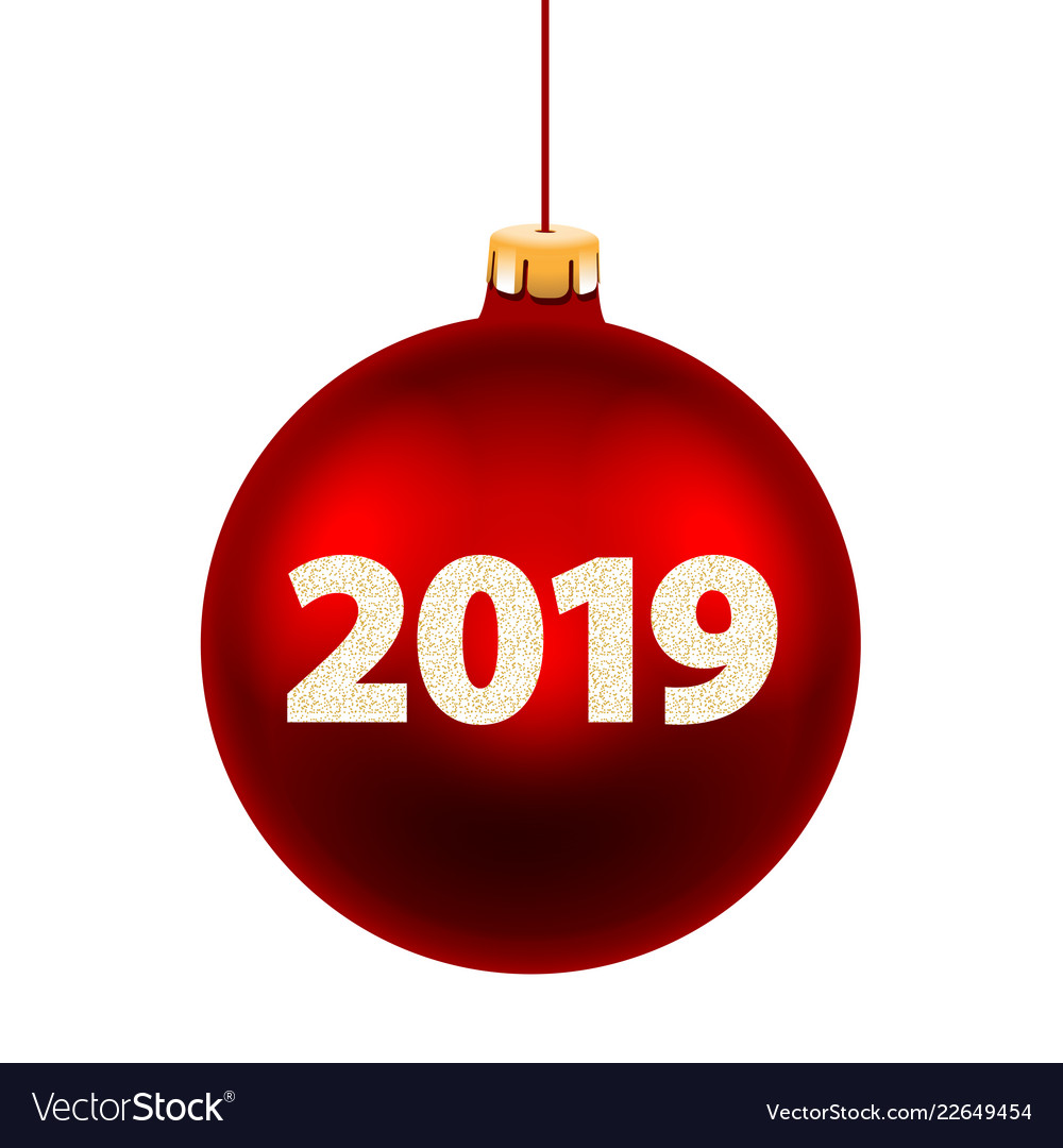 New year card for 2019 with red christmas ball