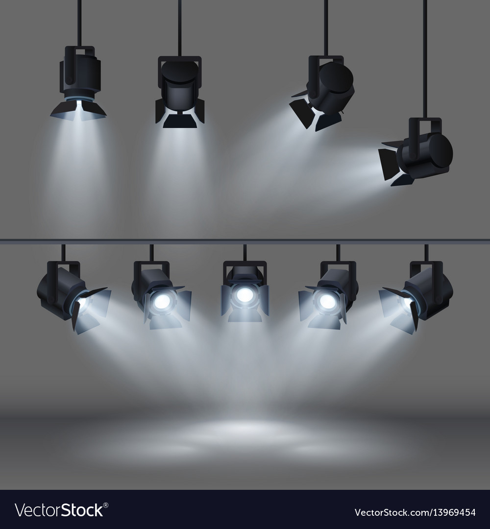 Spotlights with bright white light shining stage