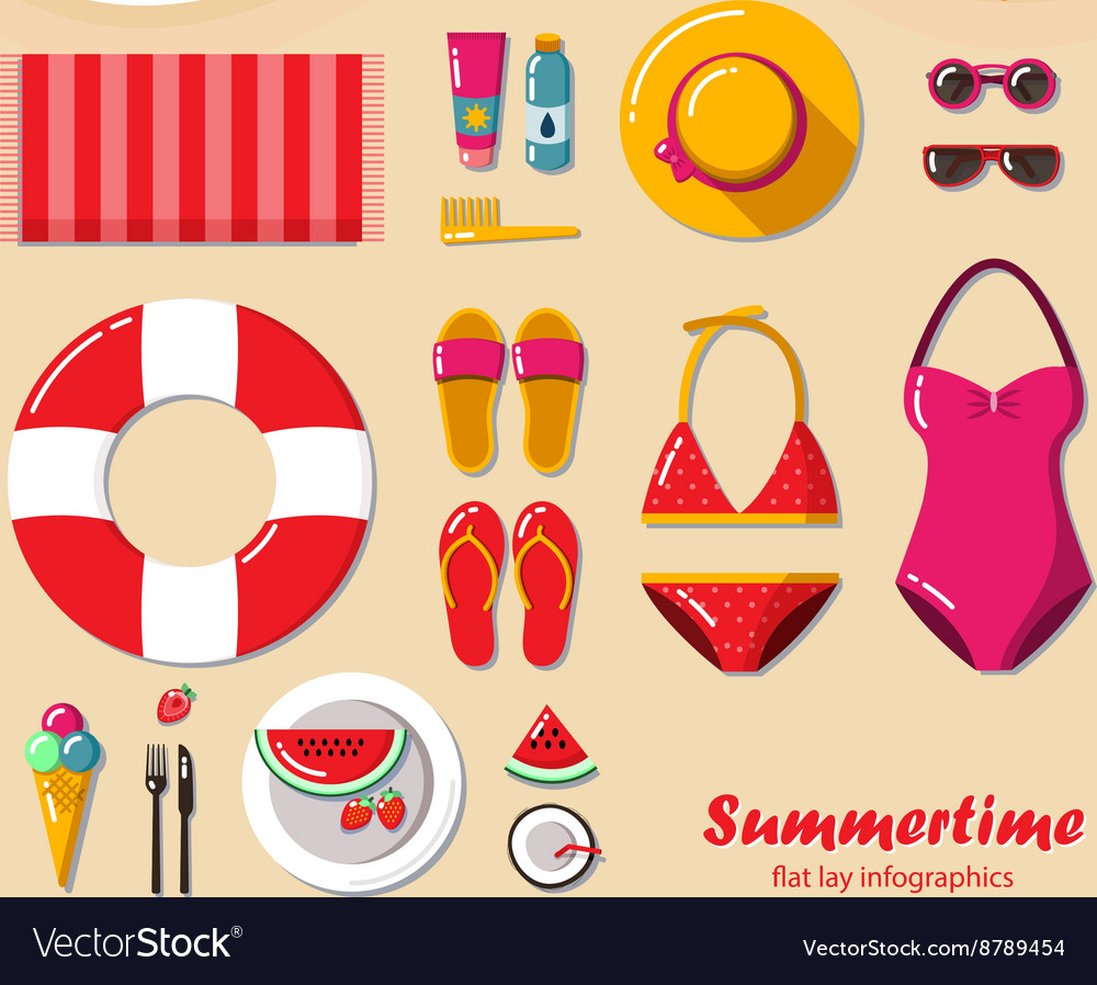 Summertime flat lay infographic
