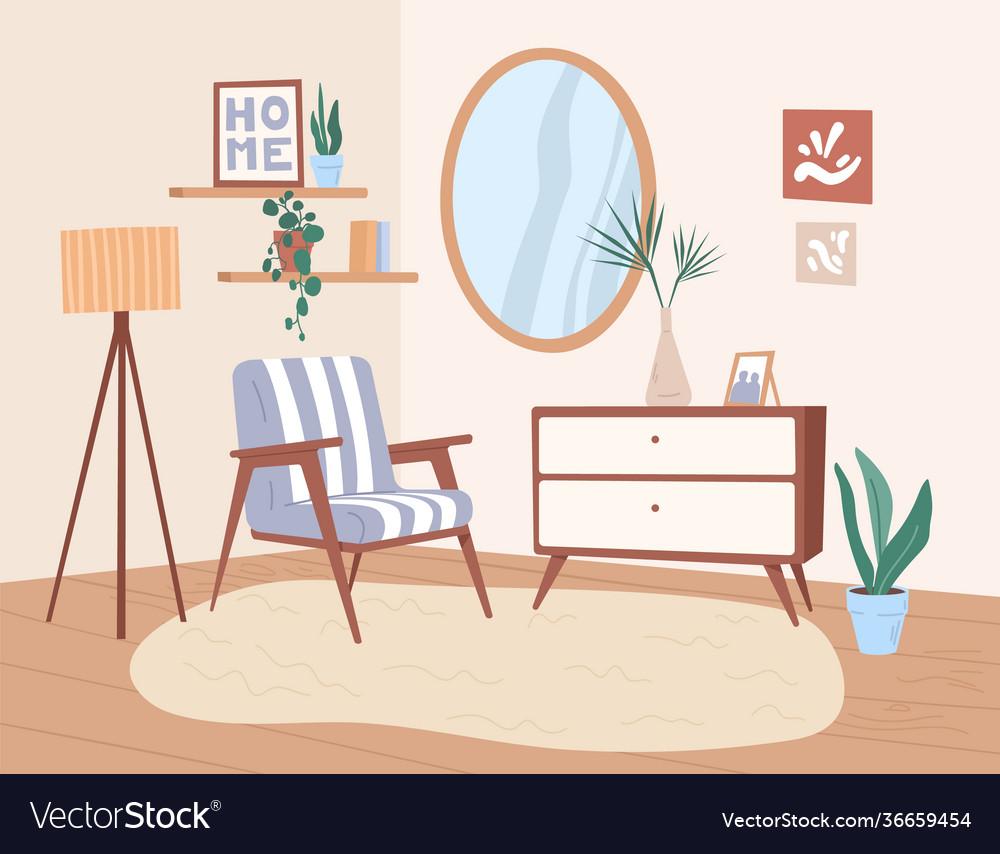 Trendy interior design living room with retro