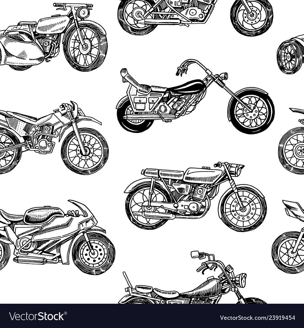 Vintage motorcycles seamless pattern bicycle