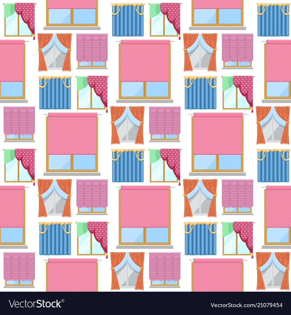 Window curtains seamless pattern background room vector image