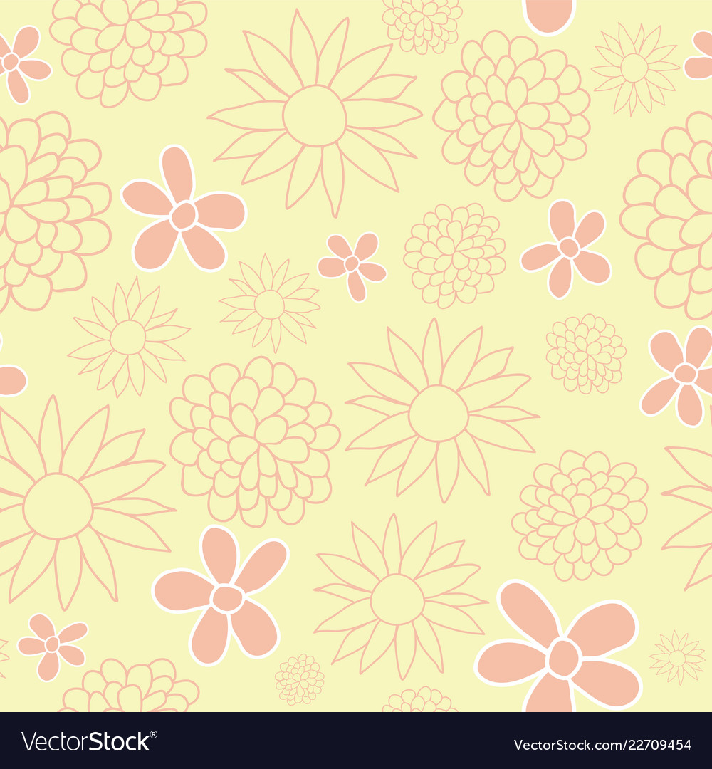 Yellow and peach floral seamless pattern design